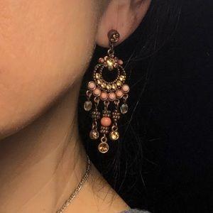 New Vintage Avon Copper, Crystal Dangling Earrings